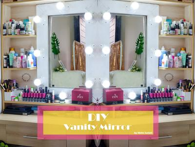 DIY Vanity Mirror With Lights Murah Meriah