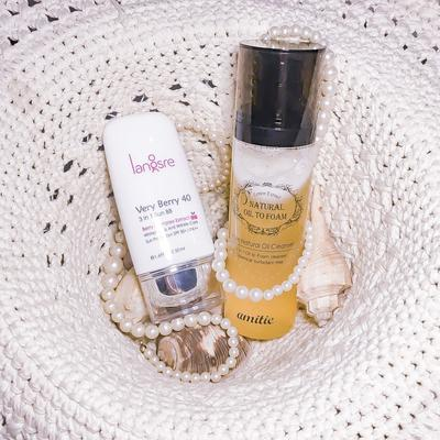 REVIEW: Langsre Very Berry 40 3-in-1 Sun BB & Amittie Natural Oil to Foam Cleanser