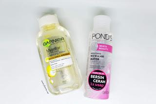(Review & Comparison) Garnier Micellar Oil Infused Cleansing Water vs Pond's White Beauty Brightening Micellar Water