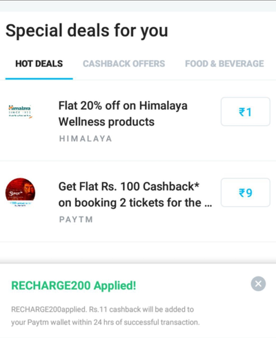Paytm – Get Assured ₹200 Free  Mobile Recharge | ₹20/month